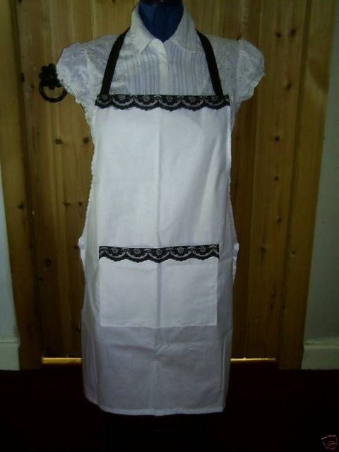 White full apron Black lace detail and straps Chef waitress retro vintage